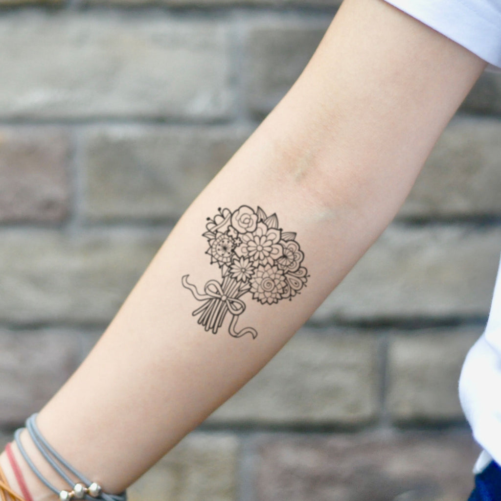 fake small bunch of flowers flower temporary tattoo sticker design idea on inner arm