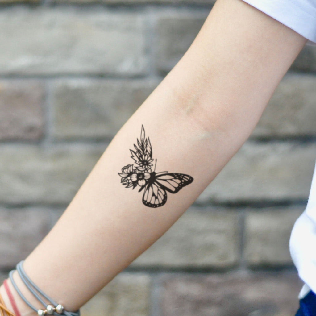 fake small butterfly flower animal temporary tattoo sticker design idea on inner arm