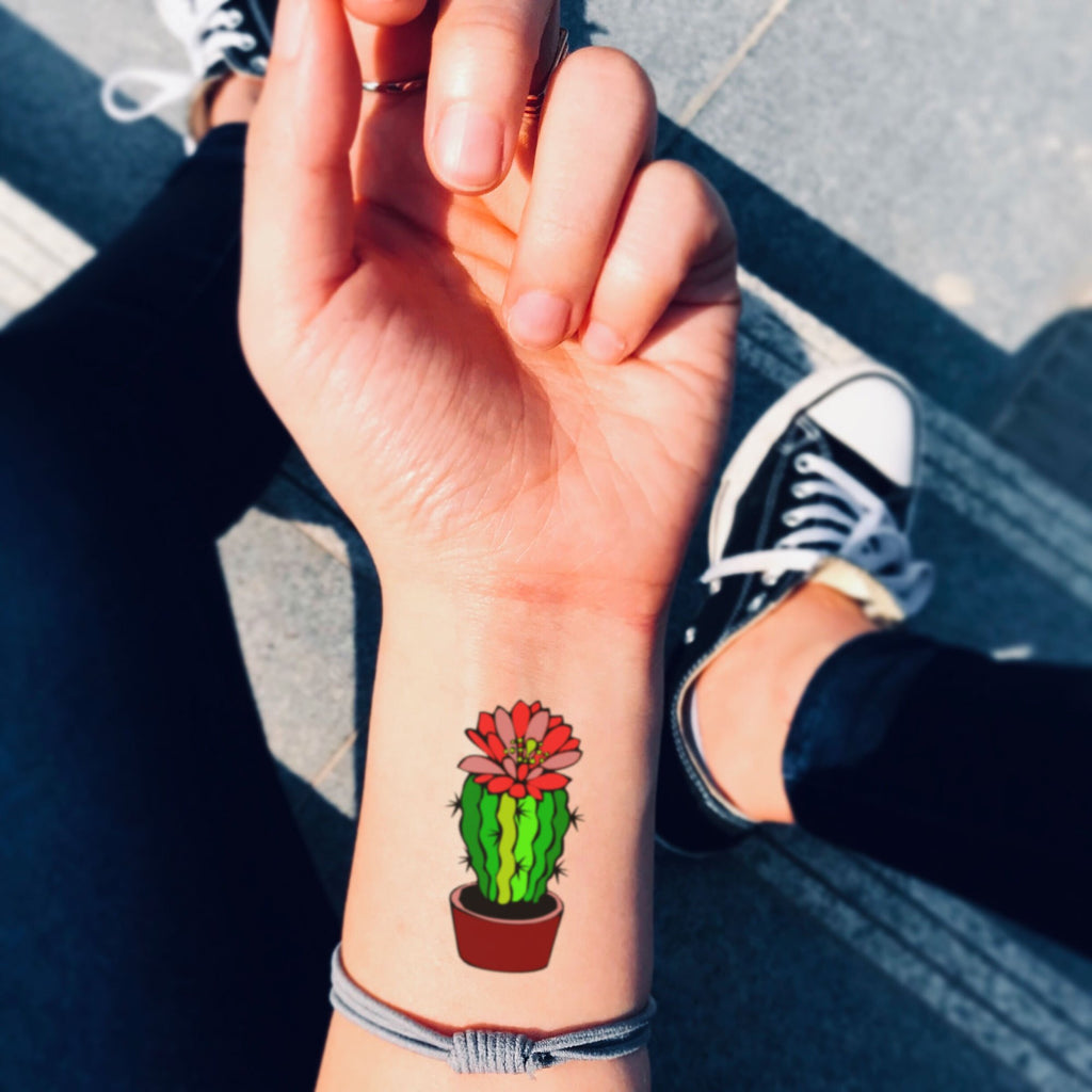 fake small cactus succulent flower temporary tattoo sticker design idea on wrist
