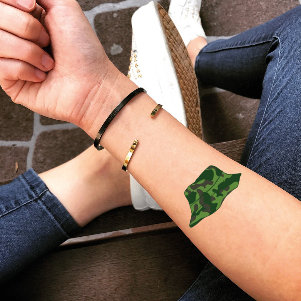 fake small camouflage camo color temporary tattoo sticker design idea on forearm