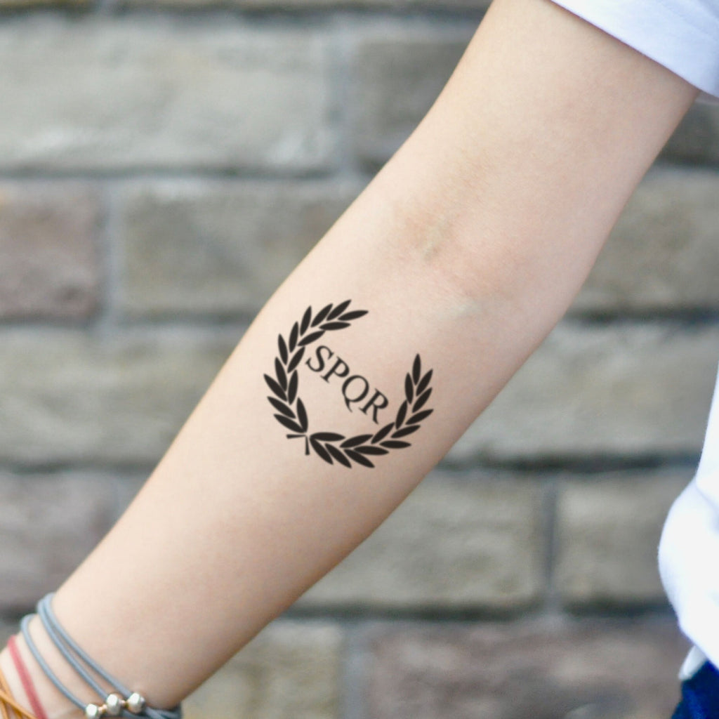 fake small camp jupiter spqr illustrative temporary tattoo sticker design idea on inner arm