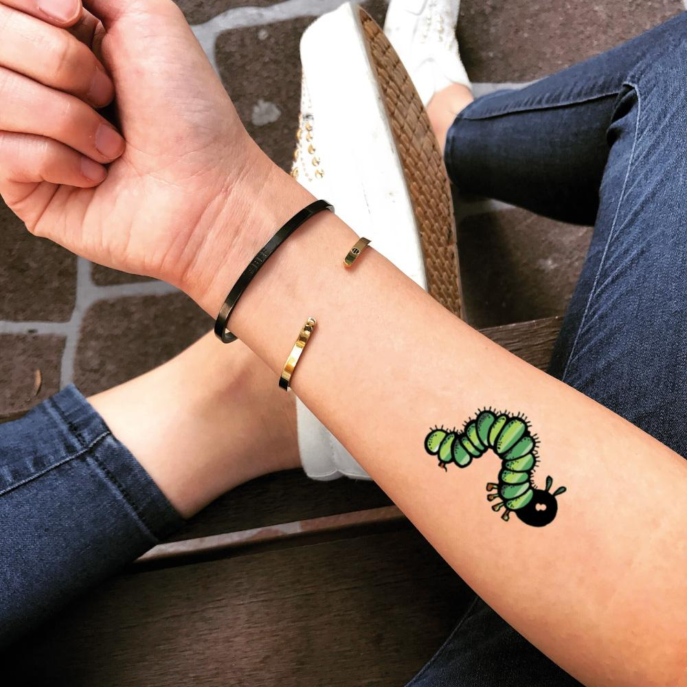 fake small caterpillar animal color temporary tattoo sticker design idea on forearm