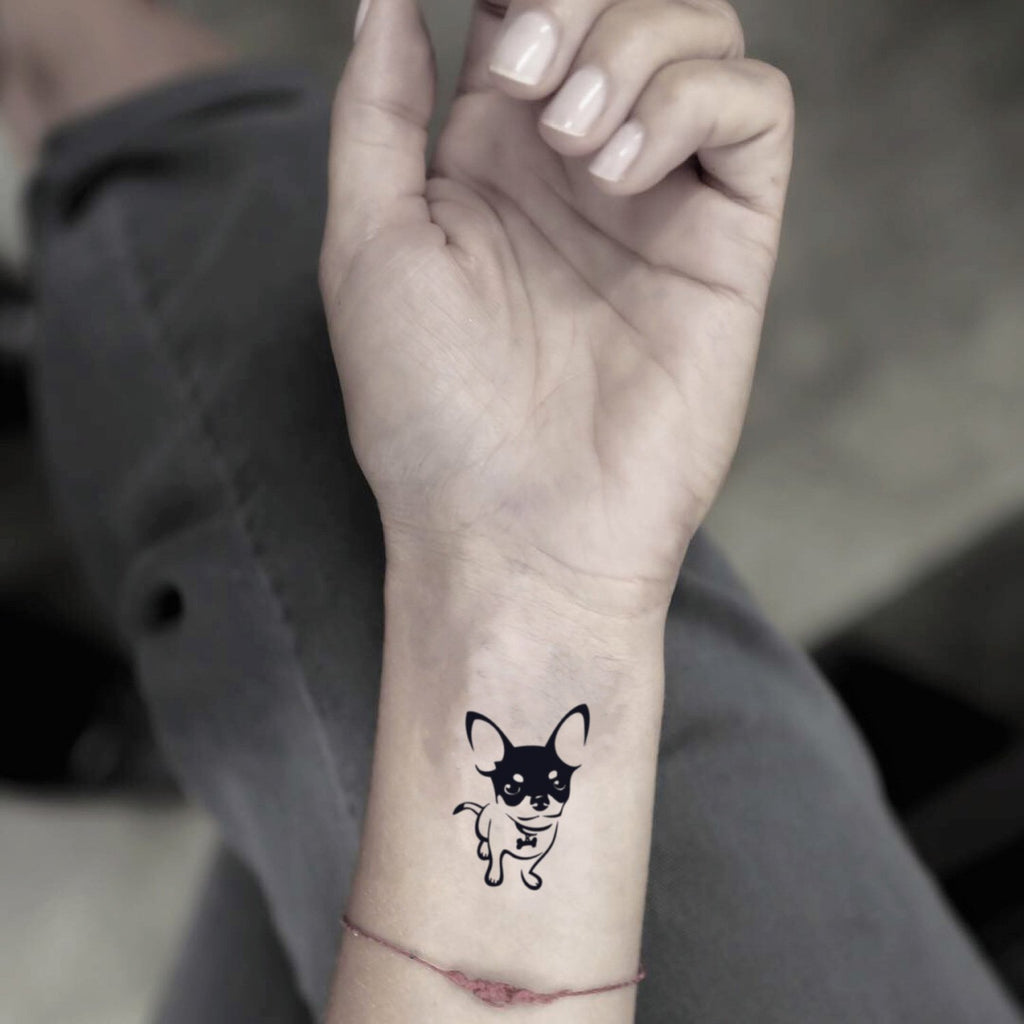 fake small chihuahua animal temporary tattoo sticker design idea on wrist