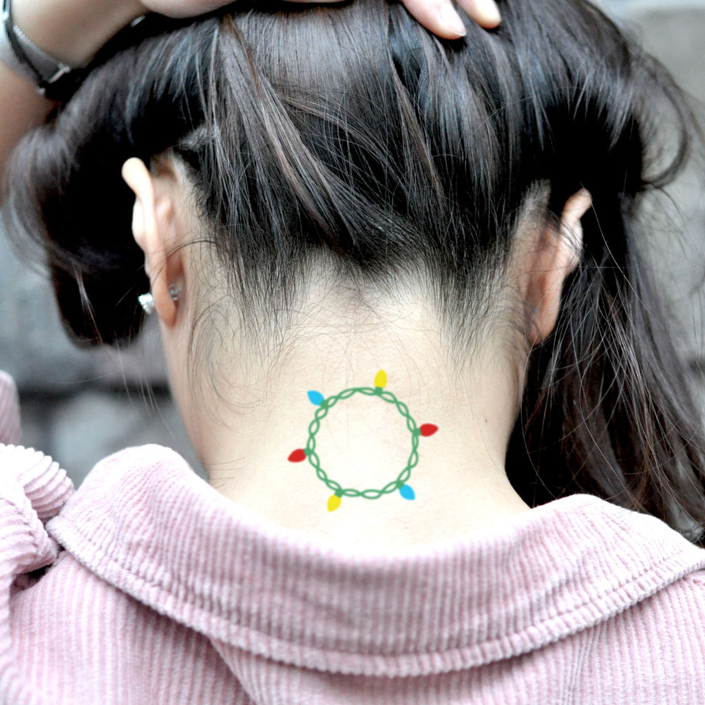 fake small christmas lights color temporary tattoo sticker design idea on neck