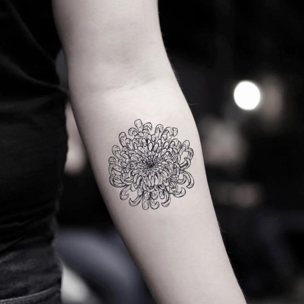 fake small chrysanthemums mum flower temporary tattoo sticker design idea on inner arm
