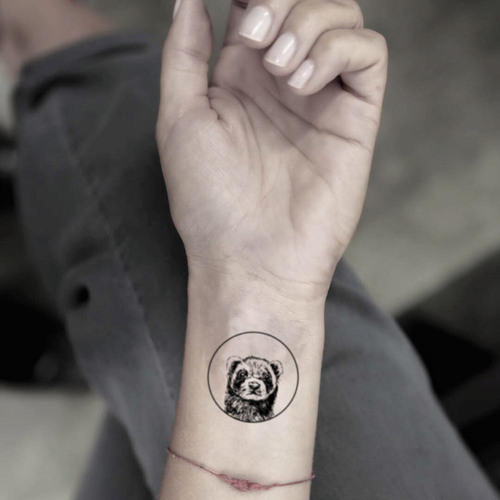 fake small circle ferret racoon red panda animal temporary tattoo sticker design idea on wrist