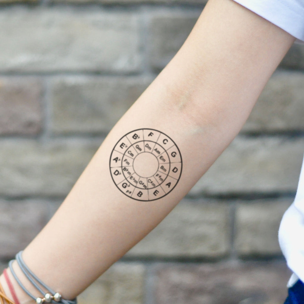 fake small circle of fifths music temporary tattoo sticker design idea on inner arm