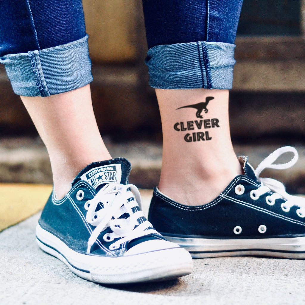 9a44977b9 fake small clever girl jurassic park illustrative temporary tattoo sticker  design idea on ankle