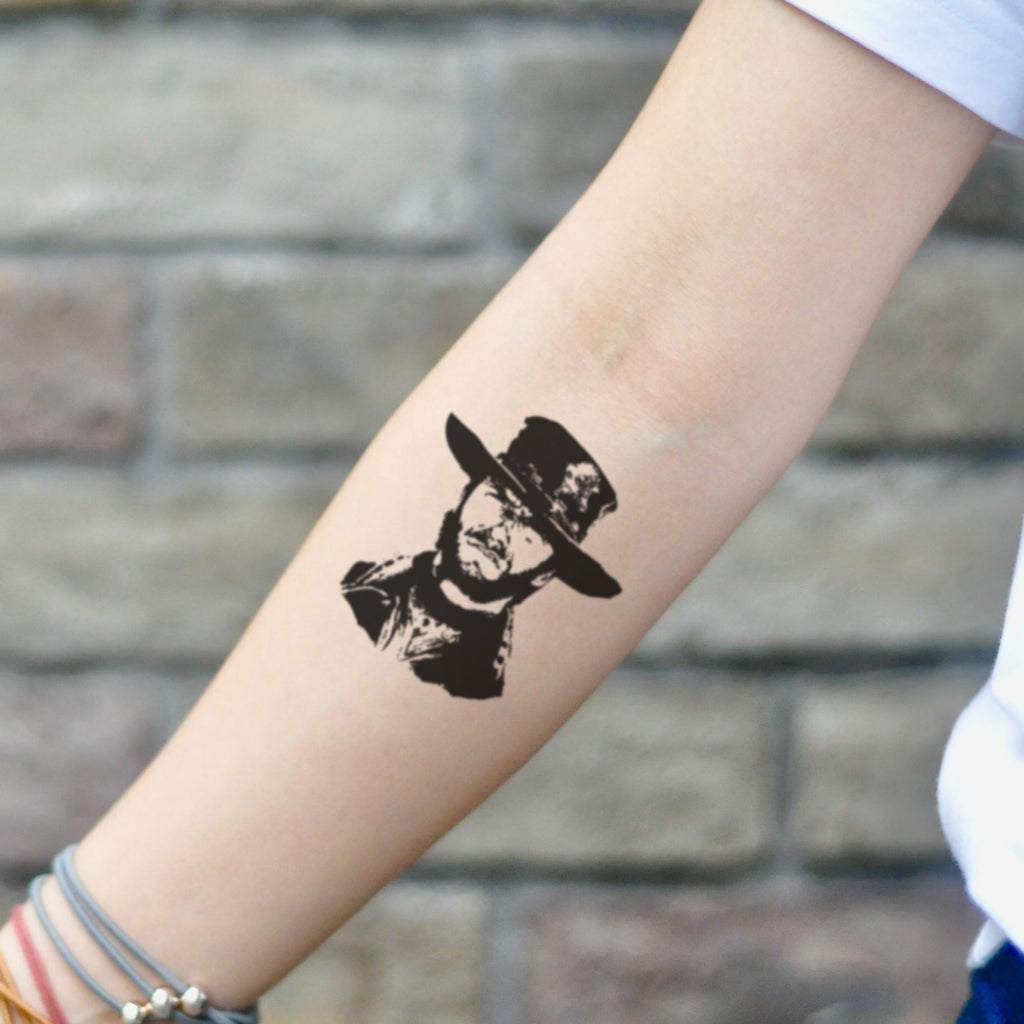 fake small clint eastwood portrait temporary tattoo sticker design idea on inner arm