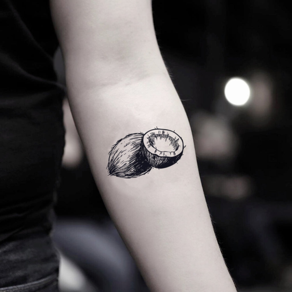 fake small coconut food temporary tattoo sticker design idea on inner arm
