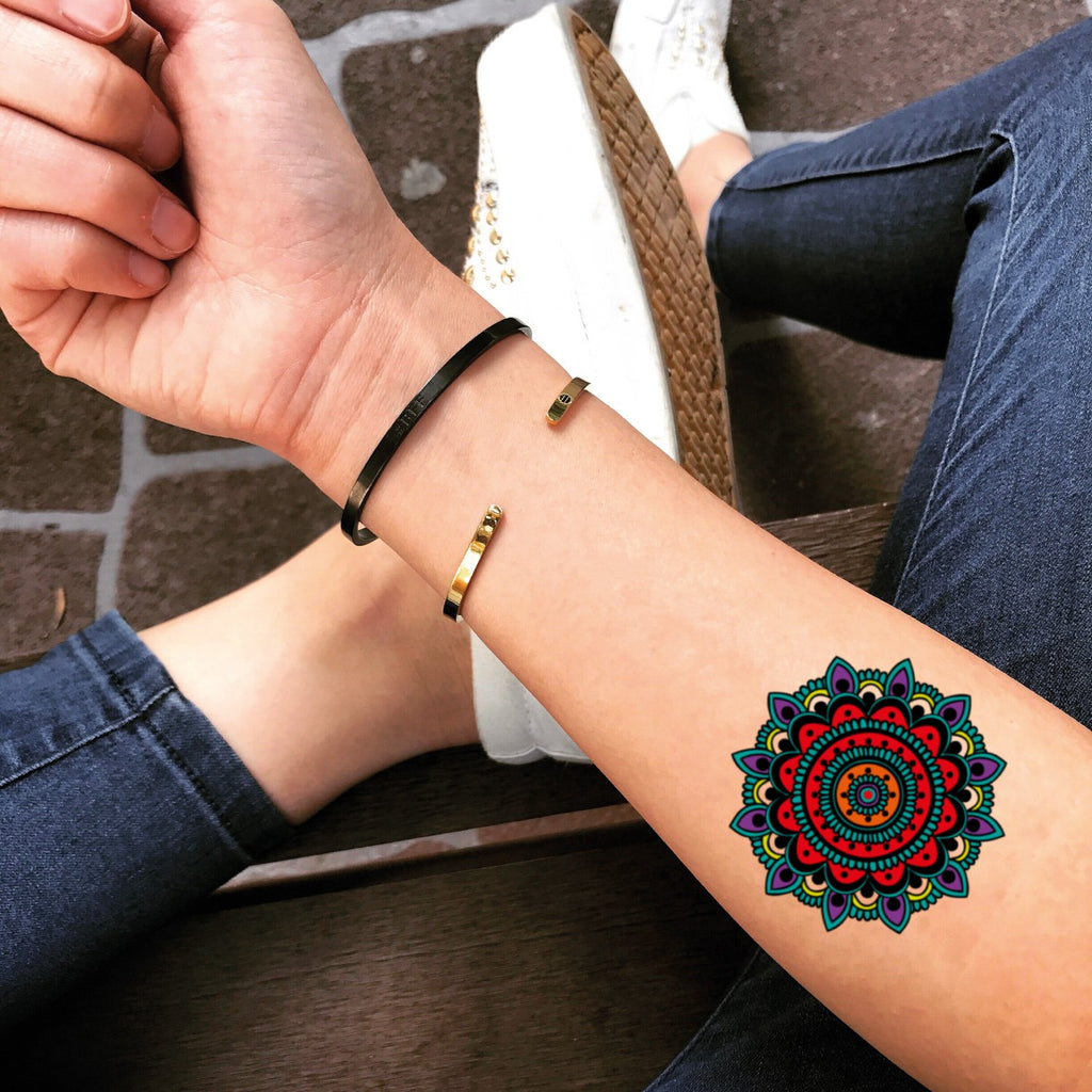 fake small color bohemian mandala temporary tattoo sticker design idea on forearm