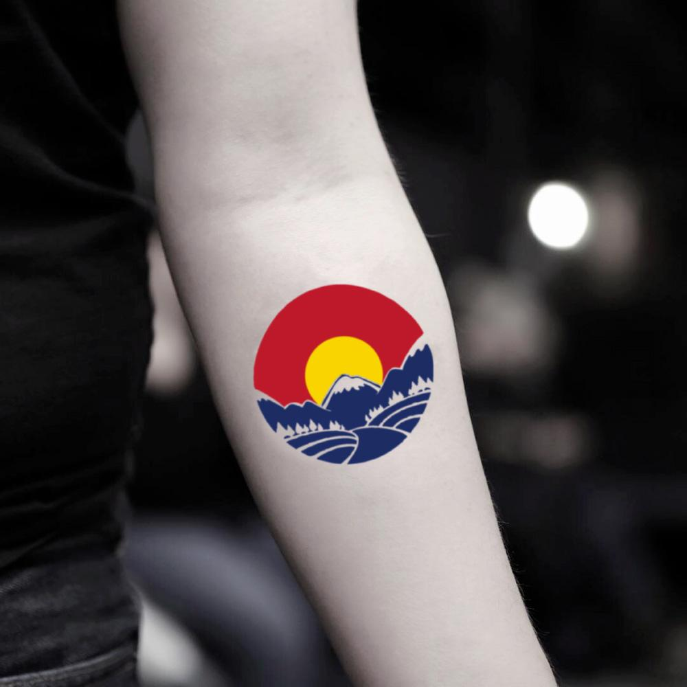 fake small colorado mountain flag color temporary tattoo sticker design idea on inner arm