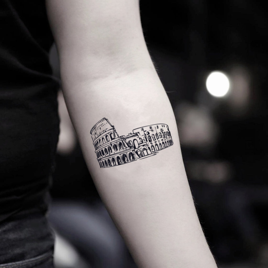 fake small colosseum illustrative temporary tattoo sticker design idea on inner arm