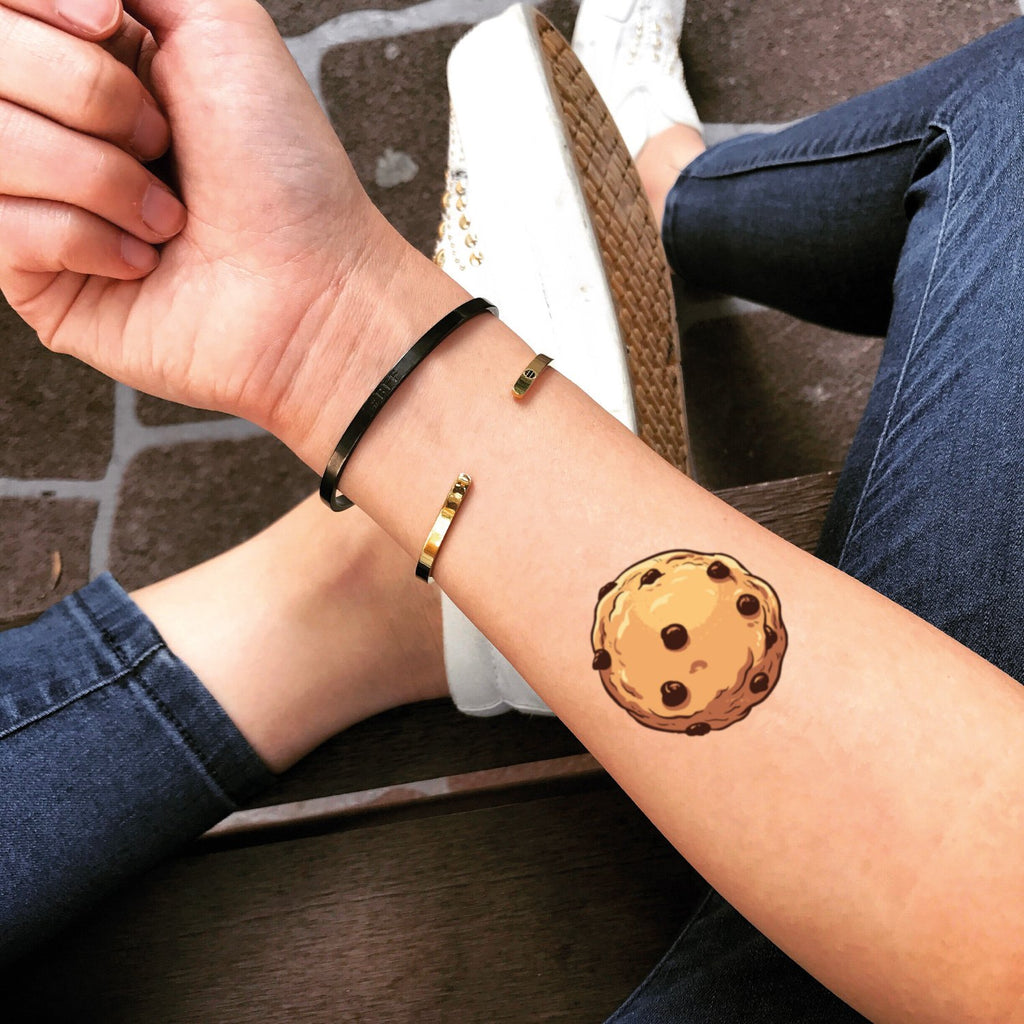 fake small cookie food color temporary tattoo sticker design idea on forearm