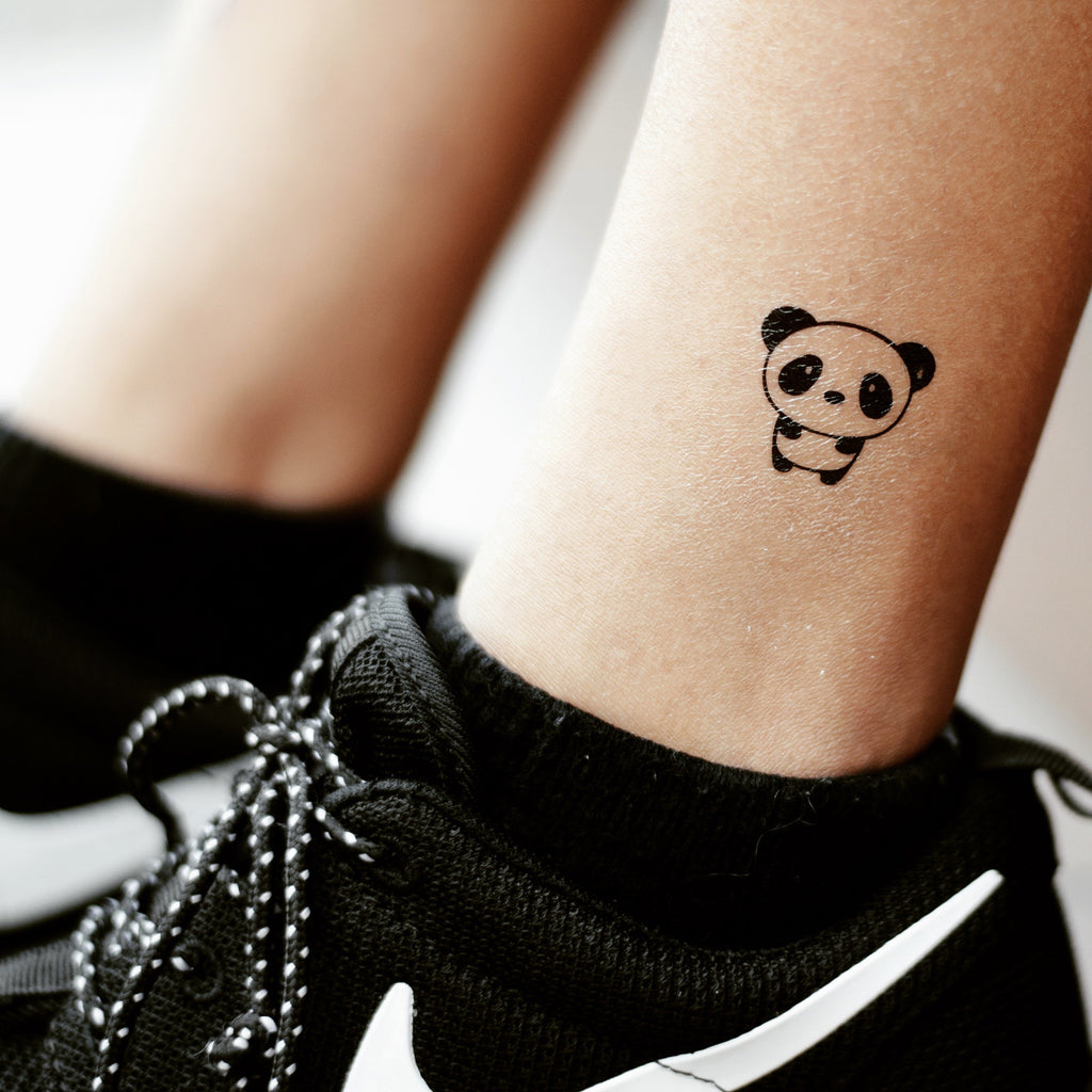 fake small cute cartoon panda animal temporary tattoo sticker design idea on ankle