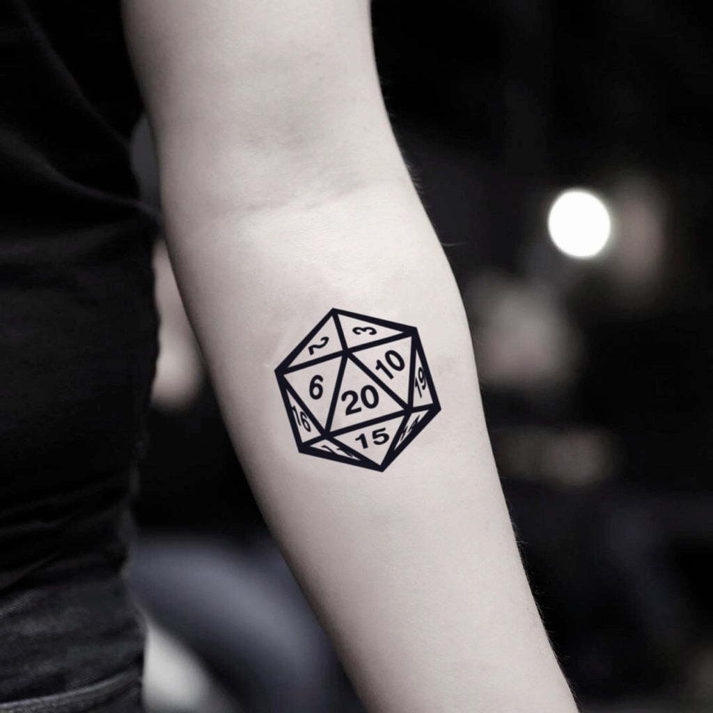 fake small d20 d&d dungeons and dragons geometric temporary tattoo sticker design idea on inner arm