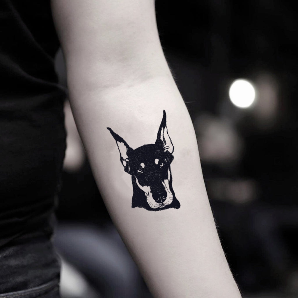 fake small doberman animal temporary tattoo sticker design idea on inner arm