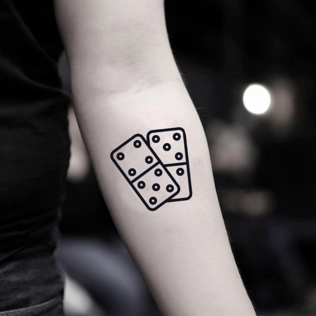 fake small domino minimalist temporary tattoo sticker design idea on inner arm
