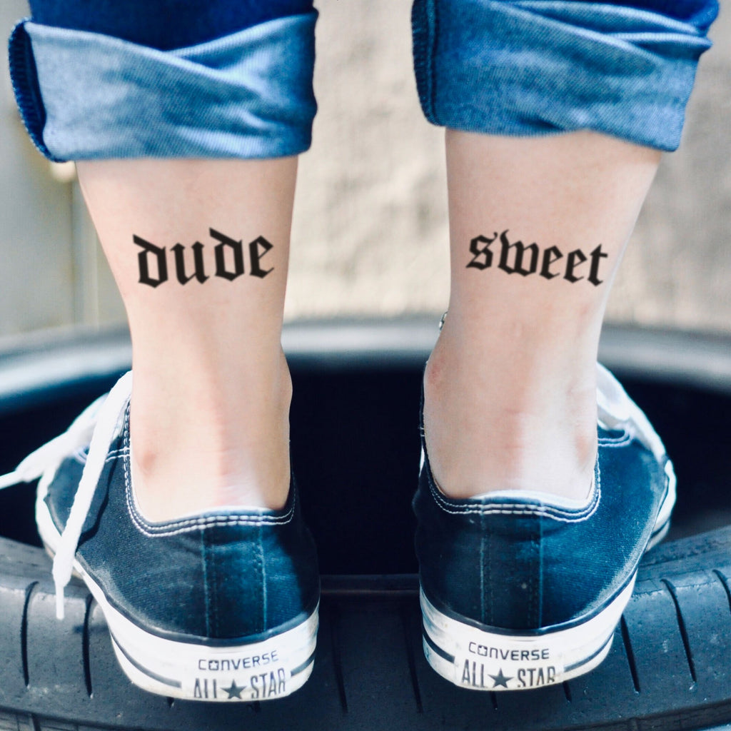 fake small dude sweet where's my car Lettering temporary tattoo sticker design idea on ankle