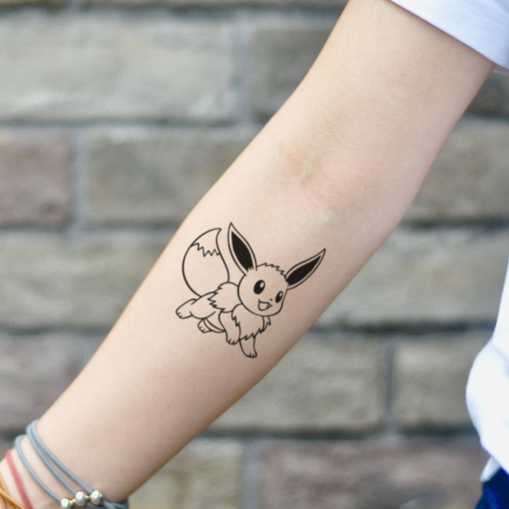 fake small eevee eeveelution pokemon Cartoon temporary tattoo sticker design idea on inner arm