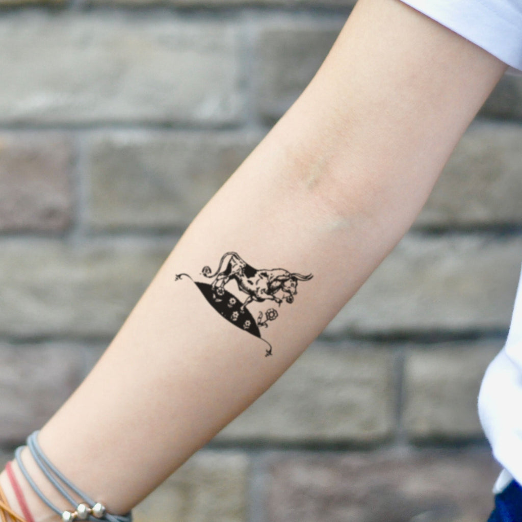 fake small ferdinand the bull animal temporary tattoo sticker design idea on inner arm
