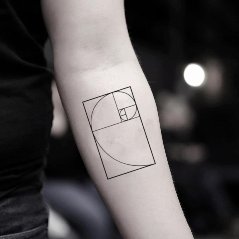 fake small fibonacci spiral golden ratio sequence geometric temporary tattoo sticker design idea on inner arm