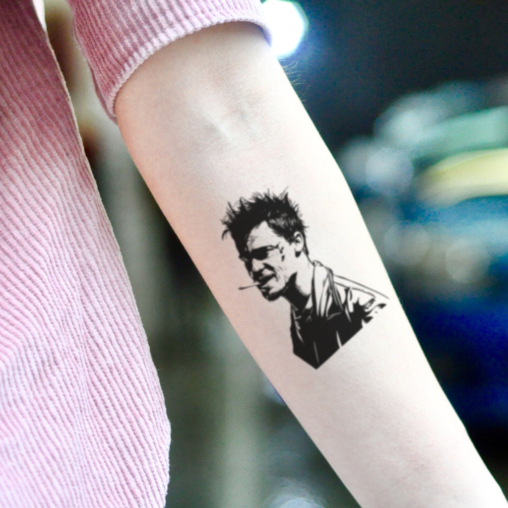 fake small fight club brad pitt portrait temporary tattoo sticker design idea on inner arm