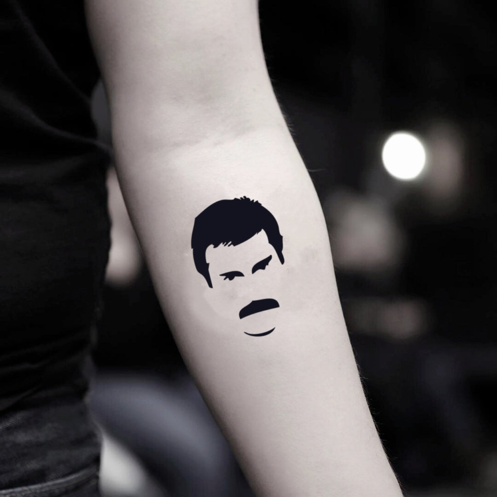fake small freddie mercury queen band portrait temporary tattoo sticker design idea on inner arm
