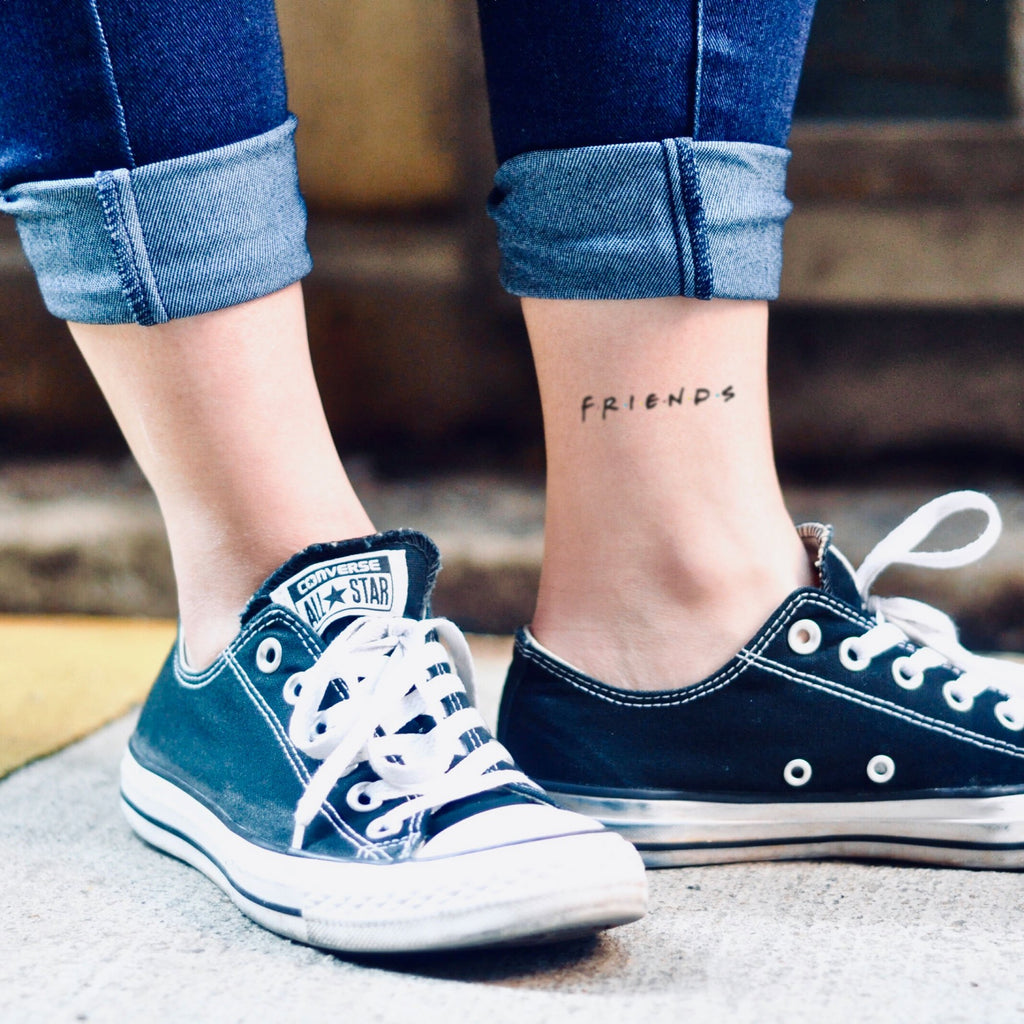 fake small friends tv show lettering temporary tattoo sticker design idea on ankle