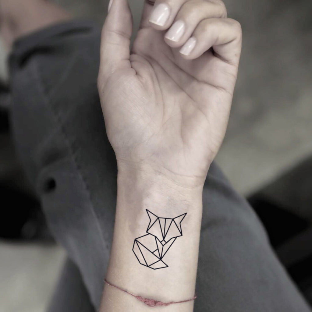 fake small geometric polygon foxy fox animal temporary tattoo sticker design idea on wrist