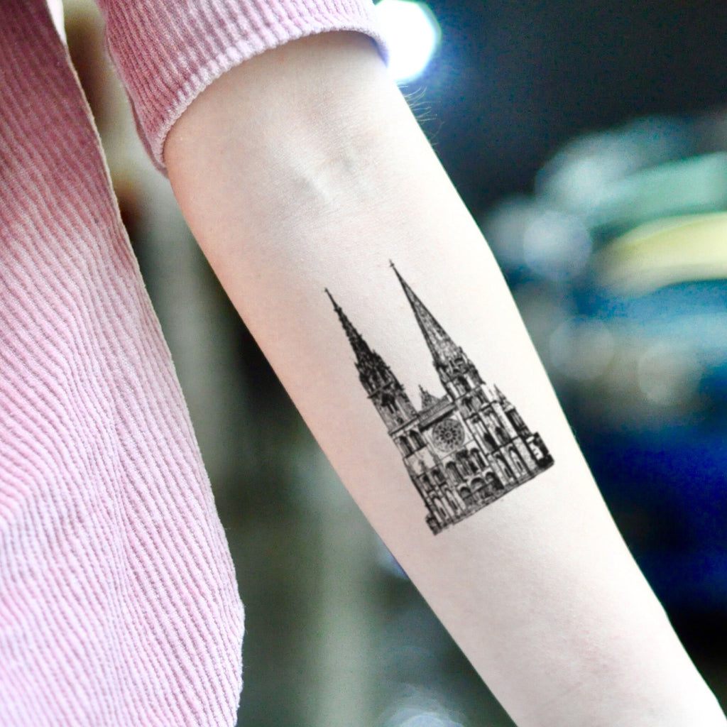 Small Church Tattoo: Gothic Cathedral Church Temporary Tattoo Sticker