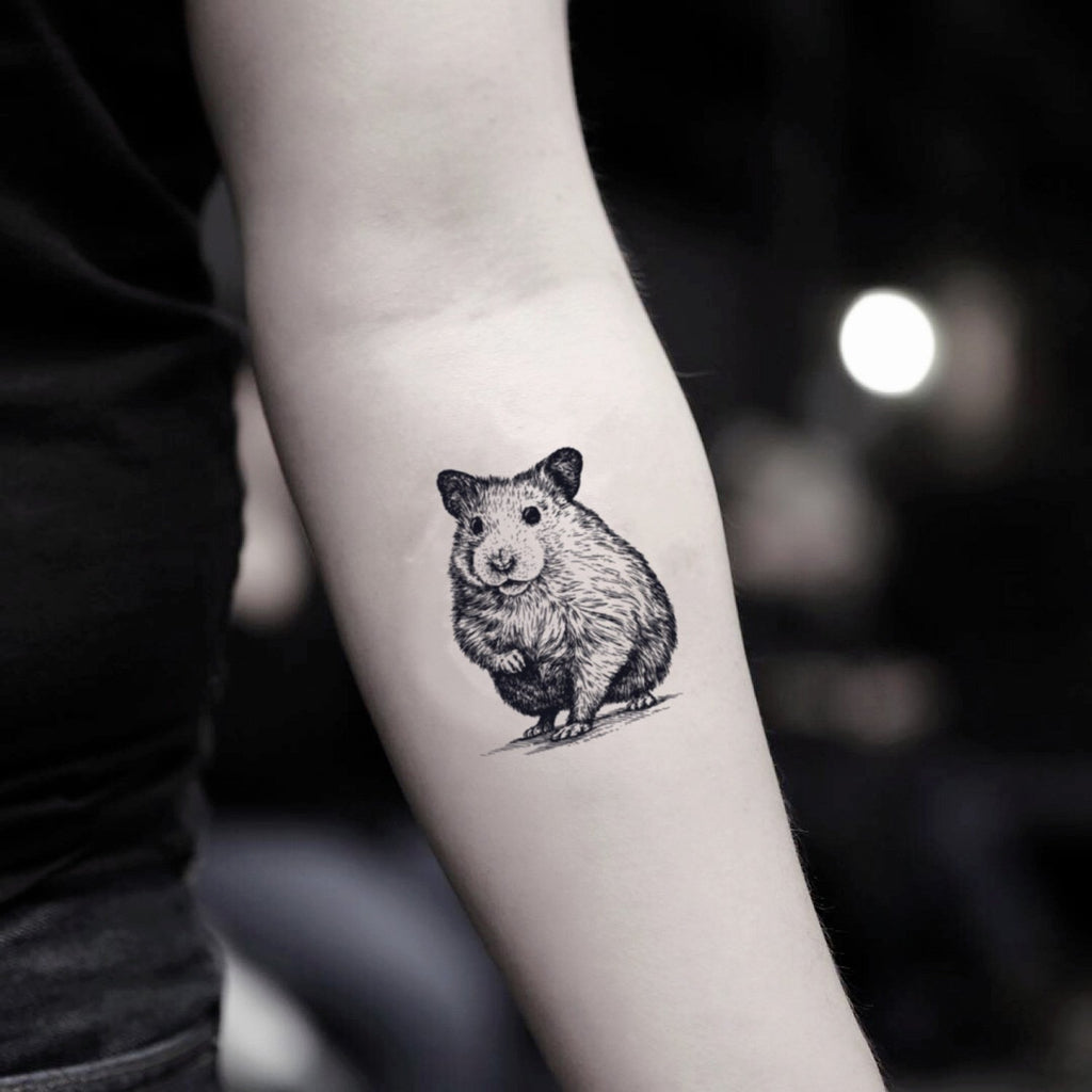 fake small hamster animal temporary tattoo sticker design idea on inner arm