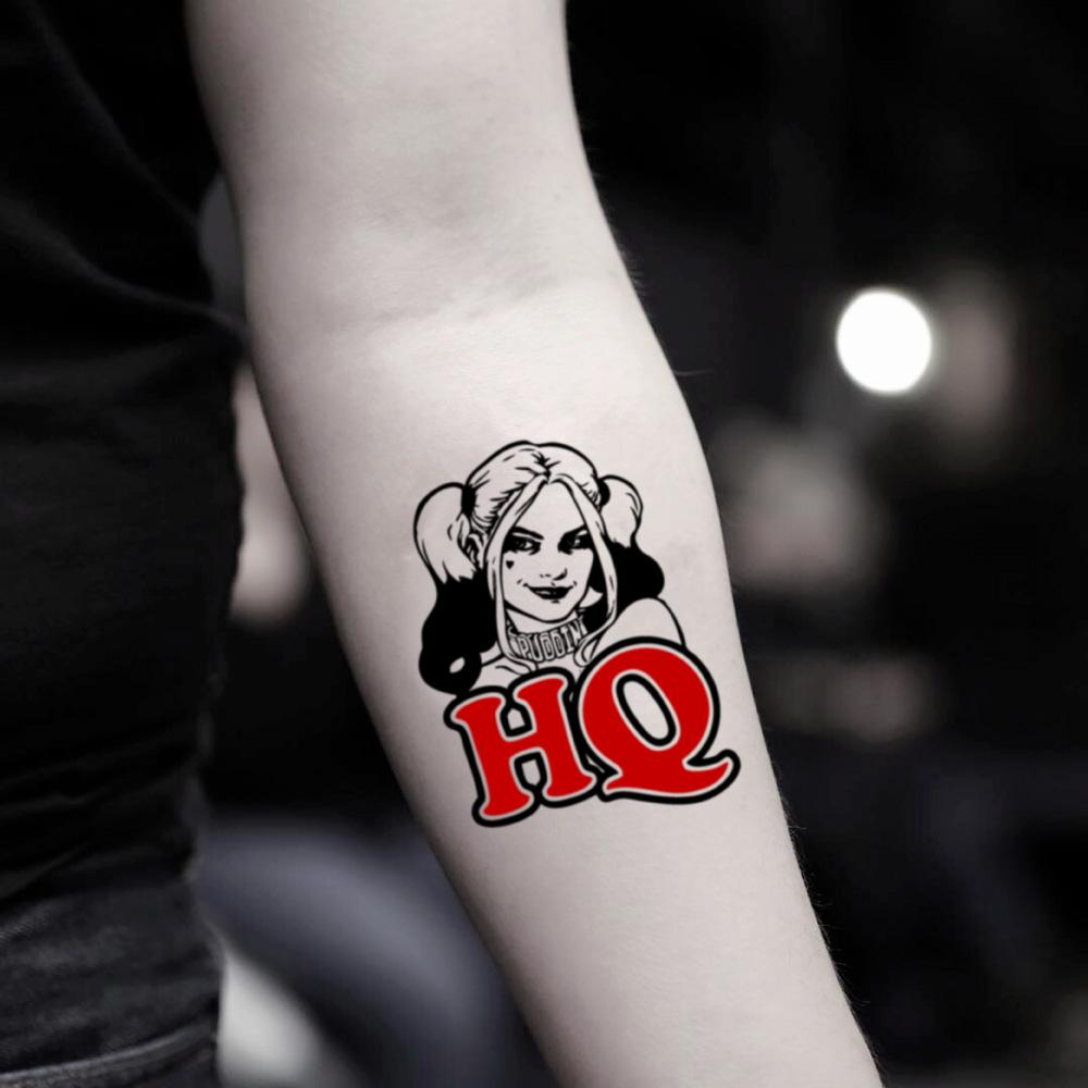 7f4a35a3f fake small harley quinn cartoon color temporary tattoo sticker design idea  on inner arm