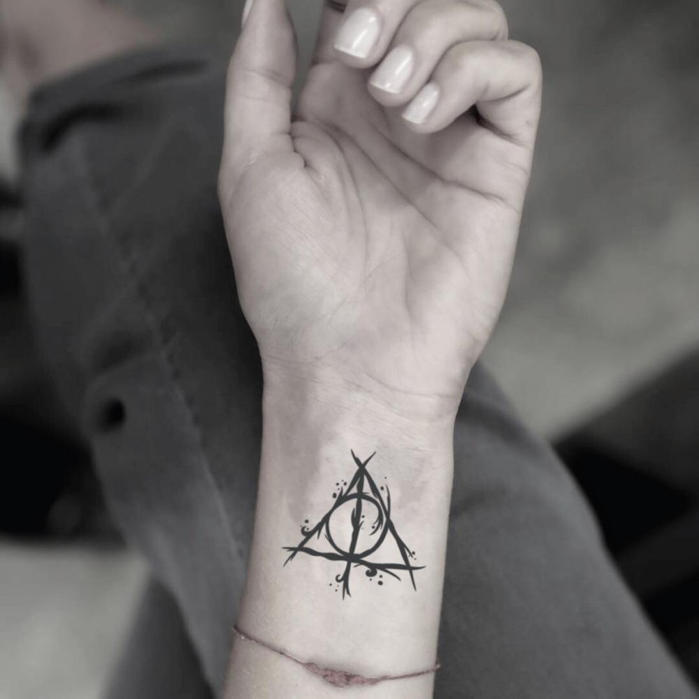 fake small harry potter hp deathly hallows dh horcrux minimalist temporary tattoo sticker design idea on wrist