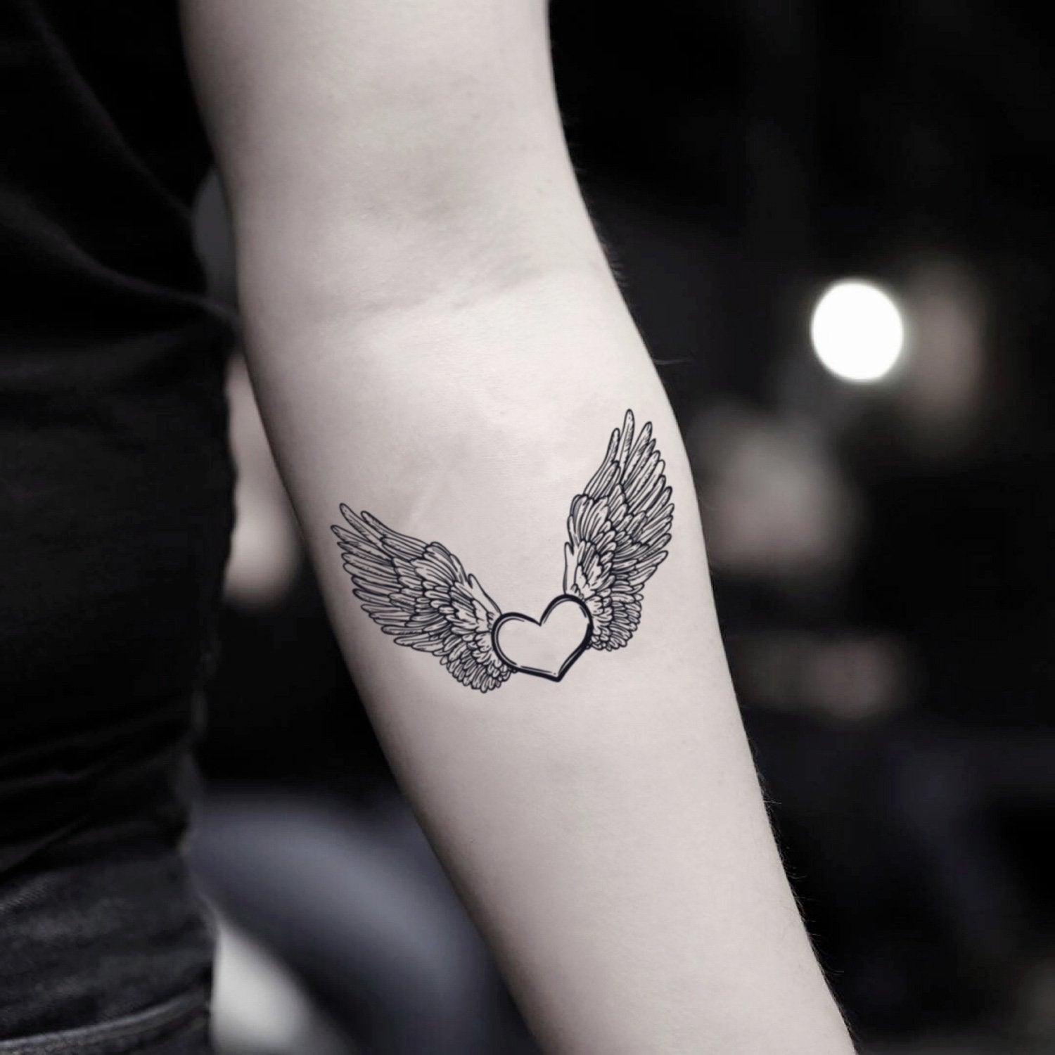 Angel Wings Tattoo Small Simple: Heart With Angel Wings Temporary Tattoo Sticker