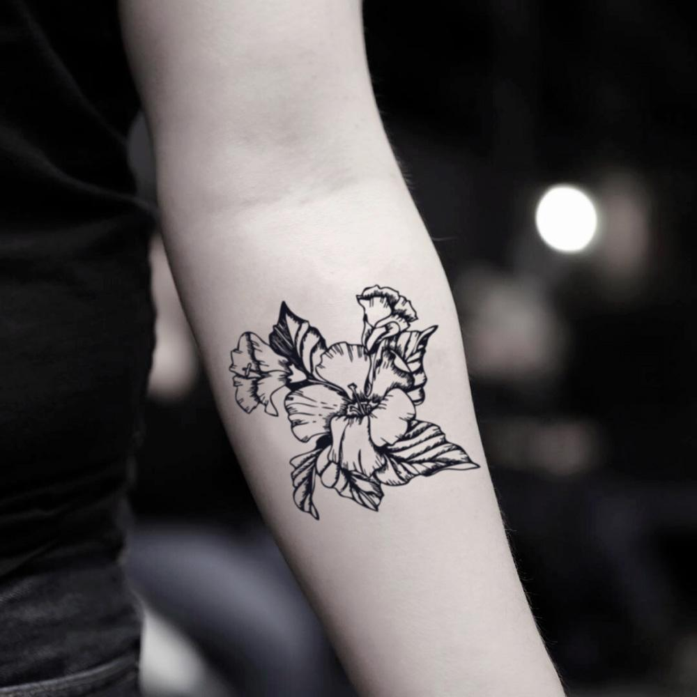 fake small hibiscus syriacus flower temporary tattoo sticker design idea on inner arm