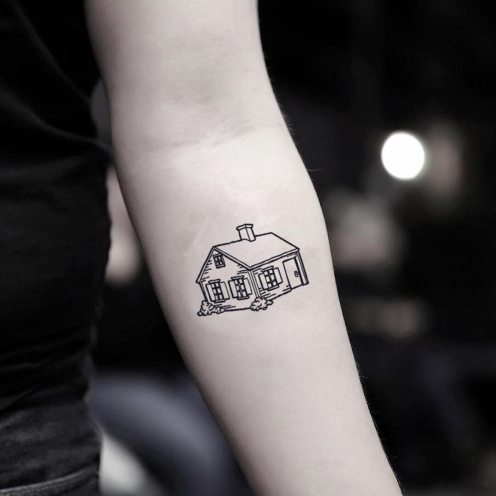 fake small home illustrative temporary tattoo sticker design idea on inner arm