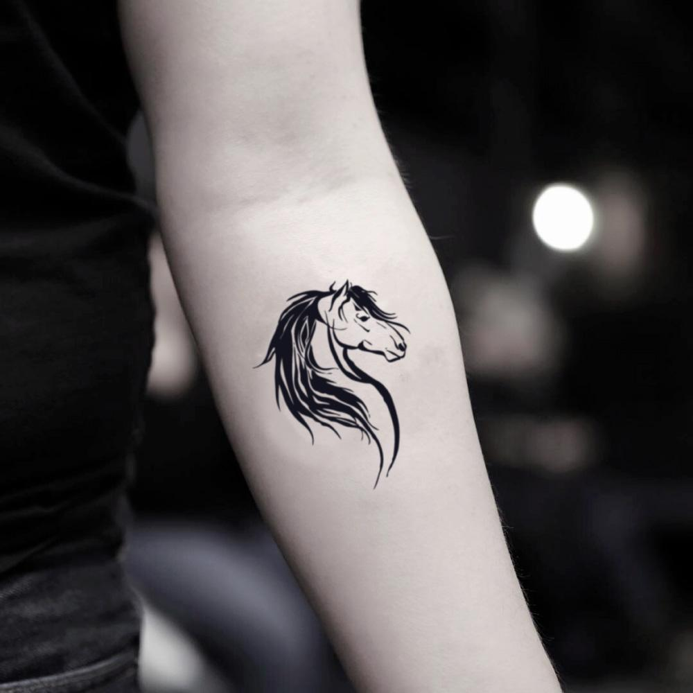 fake small horse head animal temporary tattoo sticker design idea on inner arm