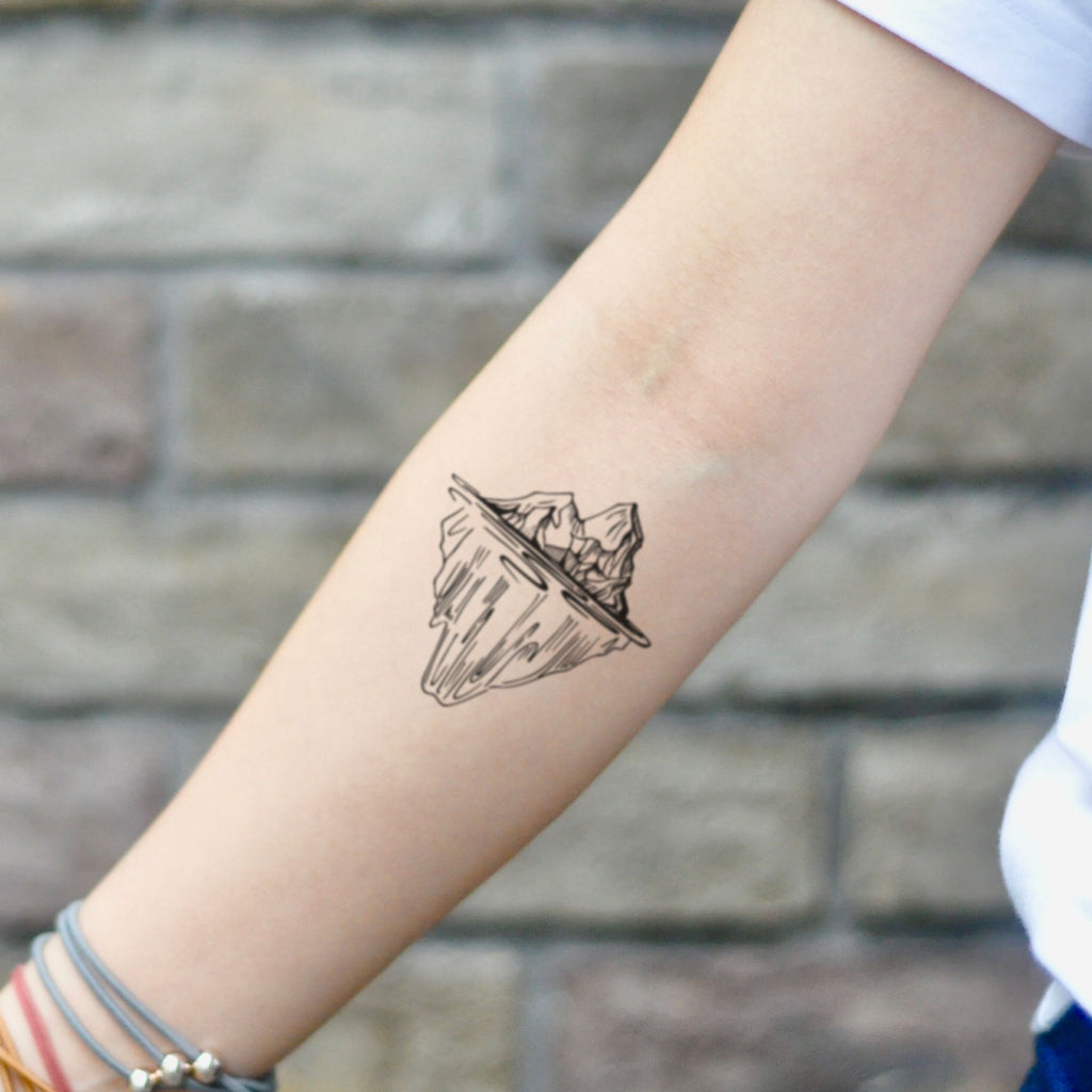 fake small iceberg nature temporary tattoo sticker design idea on inner arm