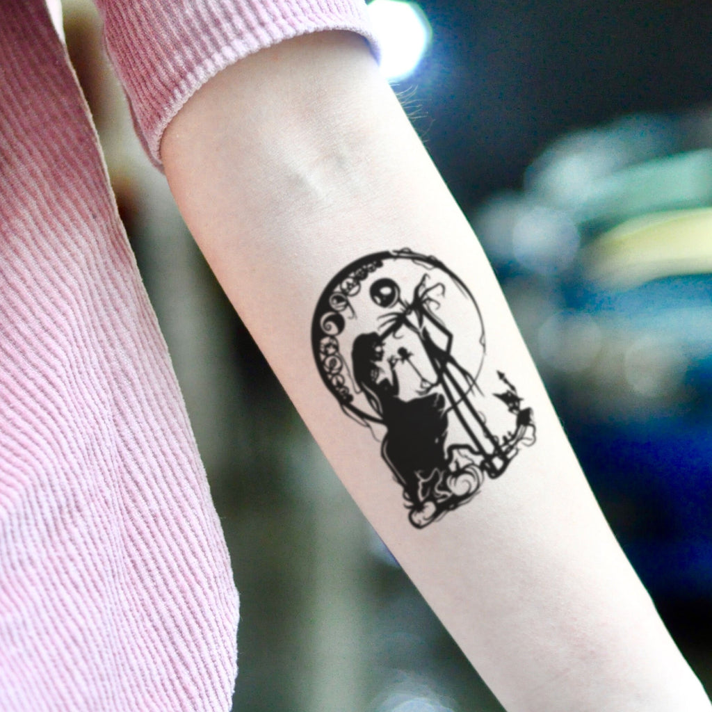 fake small jack and sally nightmare before christmas cartoon temporary tattoo sticker design idea on inner arm