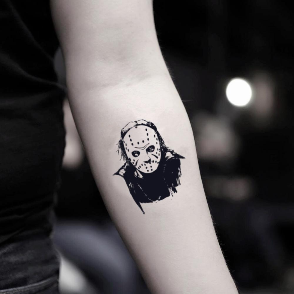 fake small freddy vs jason voorhees mask camp crystal lake portrait temporary tattoo sticker design idea on inner arm