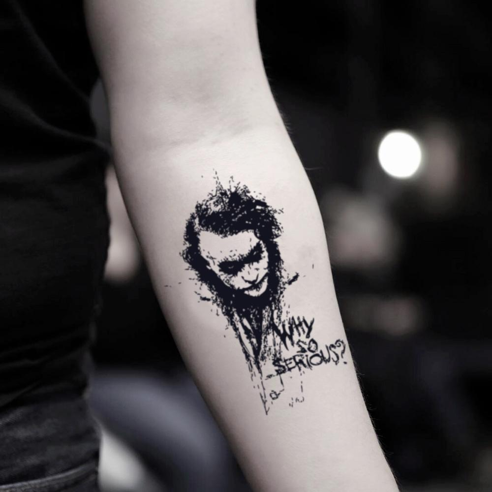 fake small batman joker face heath ledger portrait temporary tattoo sticker design idea on inner arm