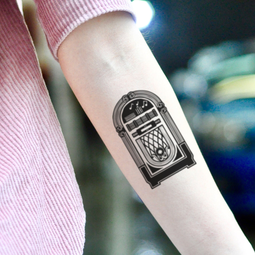 fake small jukebox vintage temporary tattoo sticker design idea on inner arm