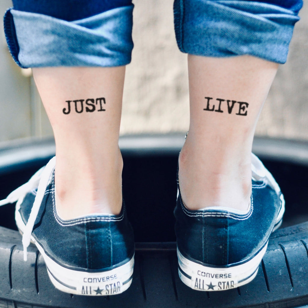 fake small just live achilles tendon heel lettering temporary tattoo sticker design idea on ankle