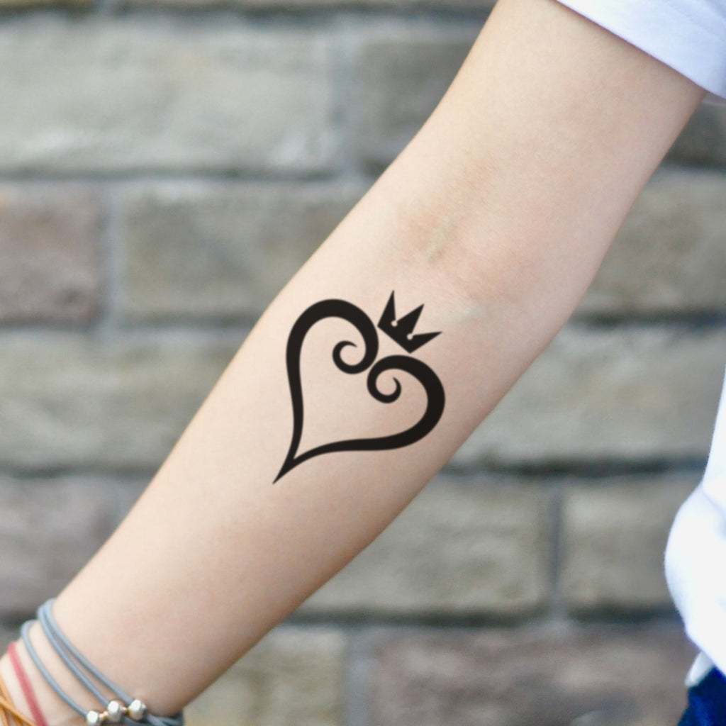 fake small kh kingdom hearts minimalist temporary tattoo sticker design idea on inner arm