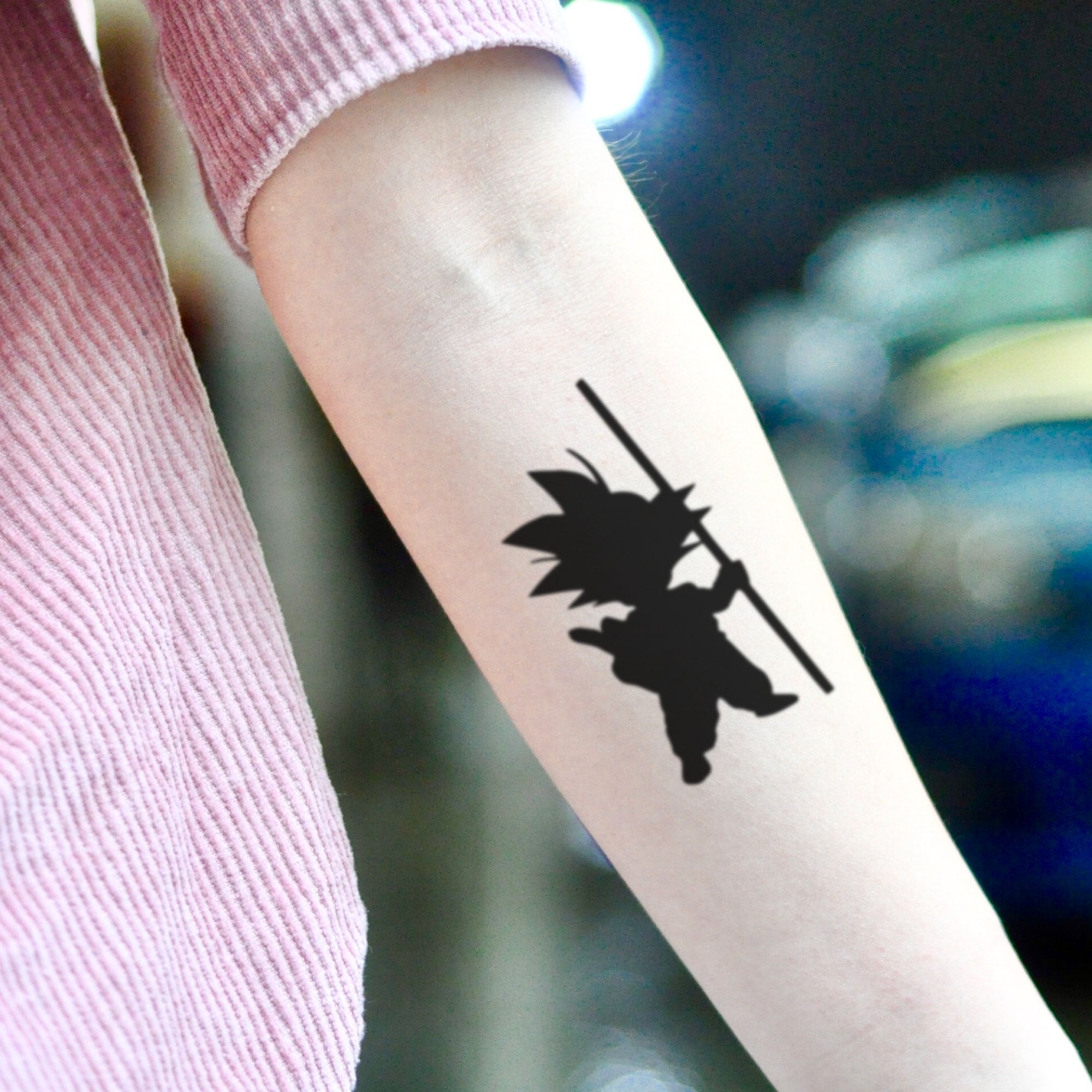 Small 8 Ball Tattoo: Kid Goku Super Saiyan Dragon Ball Z Temporary Tattoo