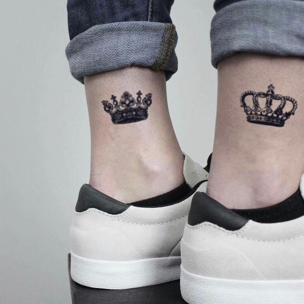 fake small latin my king and queen boyfriend girlfriend pair married couple duo opposite crown royal partners in crime valentines day illustrative temporary tattoo sticker design idea on ankle