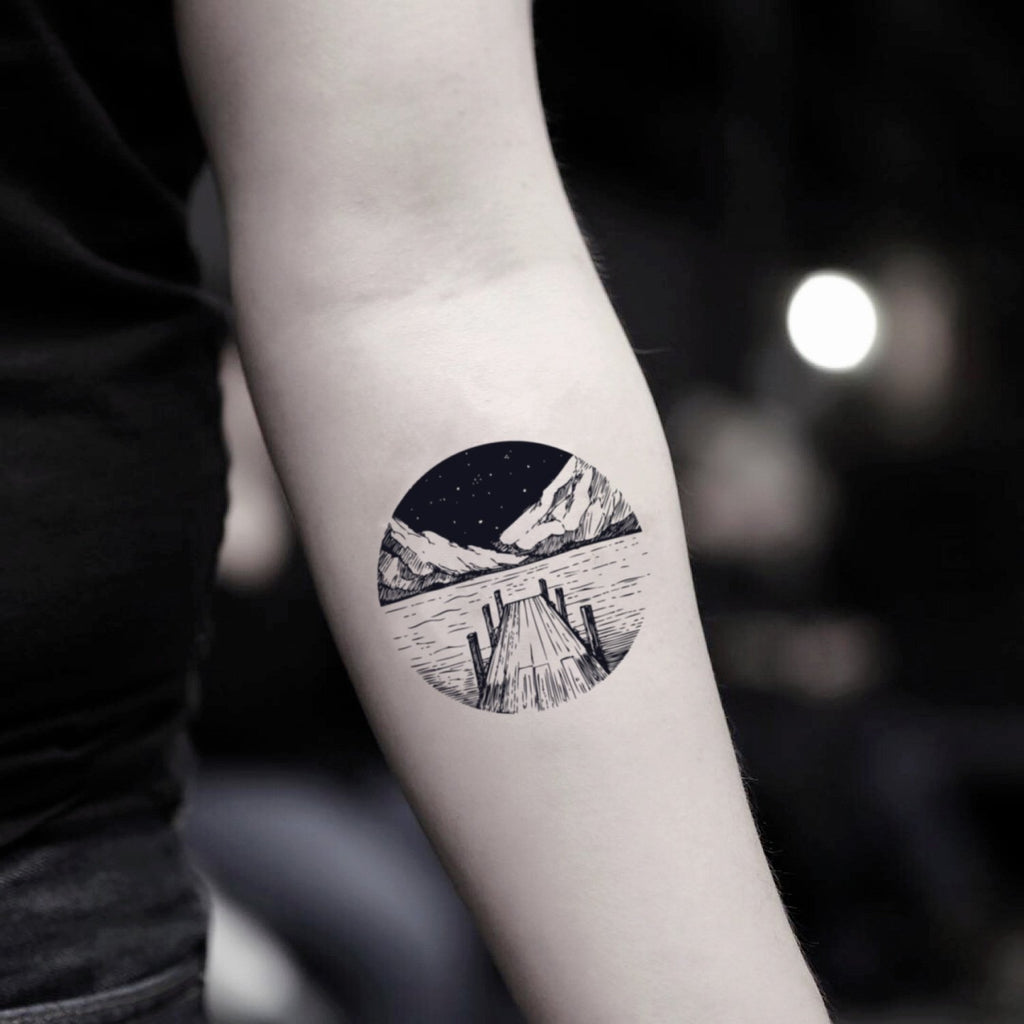 fake small lake half dome nature temporary tattoo sticker design idea on inner arm