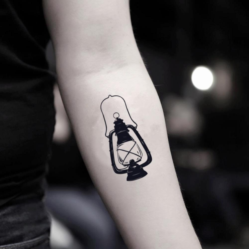 fake small black lantern great gatsby illustrative temporary tattoo sticker design idea on inner arm