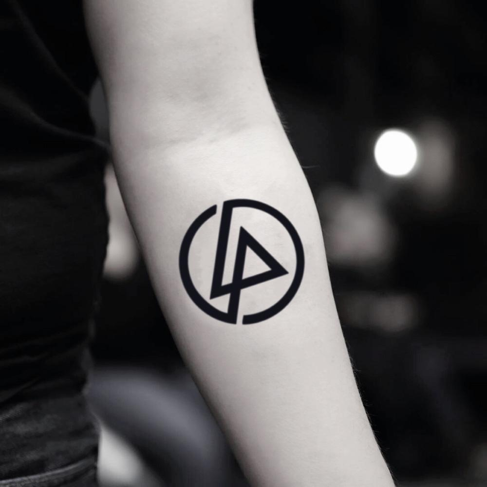 fake small linkin park logo geometric temporary tattoo sticker design idea on inner arm